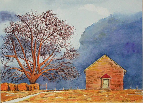 Landscape Poster featuring the painting Afternoon Storm by Ally Benbrook