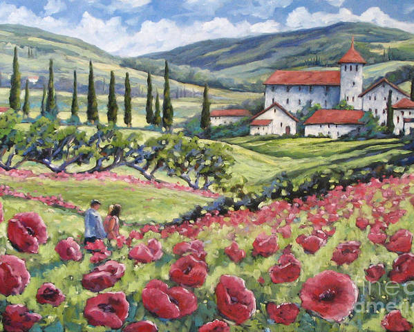 Tuscan Poster featuring the painting Afternoon Stroll by Richard T Pranke