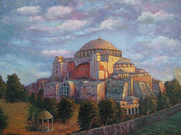 Church Poster featuring the painting Agia Sofia by Charalampos Laskaris