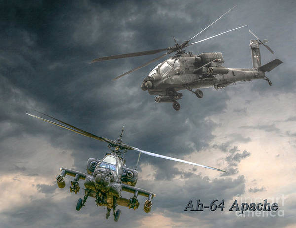 Apache Poster featuring the digital art Ah-64 Apache Attack Helicopter In Flight by Randy Steele