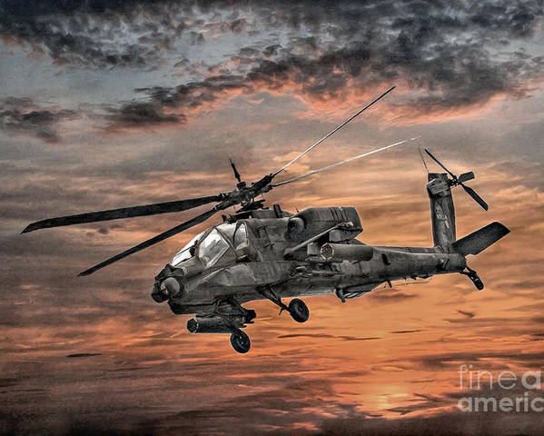 U.s. Army Poster featuring the digital art Ah-64 Apache Attack Helicopter by Randy Steele