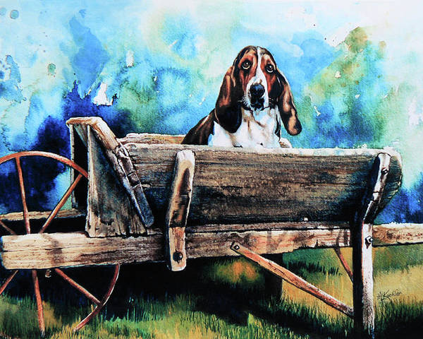 Dog In Wheelbarrow Poster featuring the painting Ah Pooey by Hanne Lore Koehler