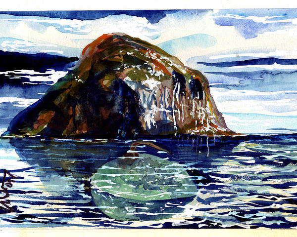 Poster featuring the painting Ailsa Craig by Mike Shepley DA Edin