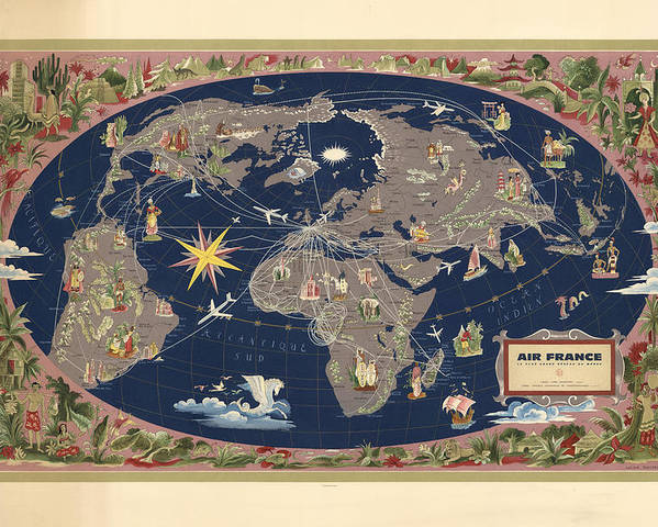 Map Of France Poster.Air France Illustrated Map Of The Air Routes By Lucien Boucher Historical Map Of The World Poster