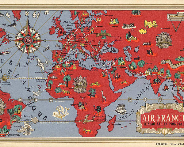 Map Of France Poster.Air France Vintage Illustrated Map Of The World By Lucien Boucher Cartography Poster