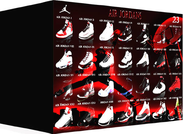 Michael Jordan Poster featuring the digital art Air Jordan Shoe Gallery II by Brian Reaves