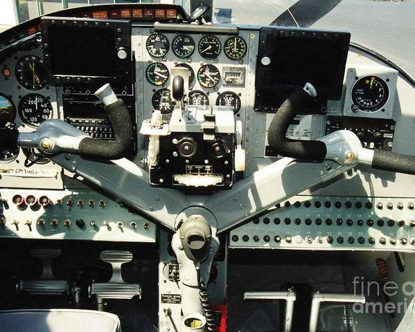 Aircraft Poster featuring the photograph Aircraft Airplane Control Panel by R Muirhead Art