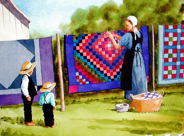 Amish Poster featuring the painting Airing The Quilts by Faye Ziegler