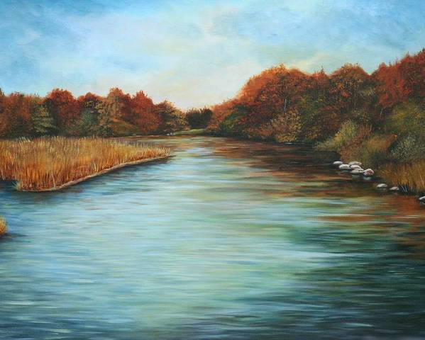 Original Acrylic Landscape Poster featuring the painting Ajax Marsh by Sharon Steinhaus
