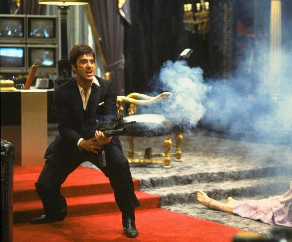 Al Pacino Tony Montana Machine Gun Blasting Bad Guys Scarface 1983 Poster featuring the photograph Al Pacino As Tony Montana With Machine Gun Blasting His Fellow Bad Guys Scarface 1983 by David Lee Guss