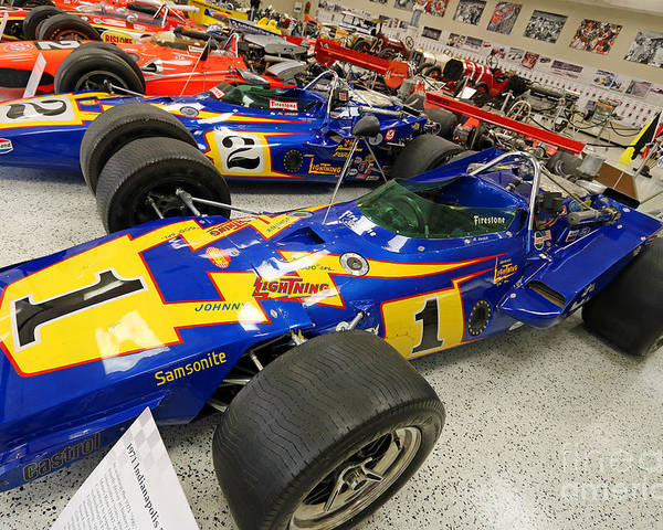 Al Unser Poster featuring the photograph Al Unser Winning Cars At Indianapolis by Steve Gass