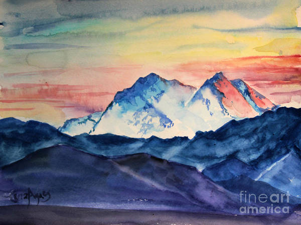 A Mountain Rises To Meet The Sky In This Alaskan Painting. Poster featuring the painting Alaska Mountain by Tina Sheppard
