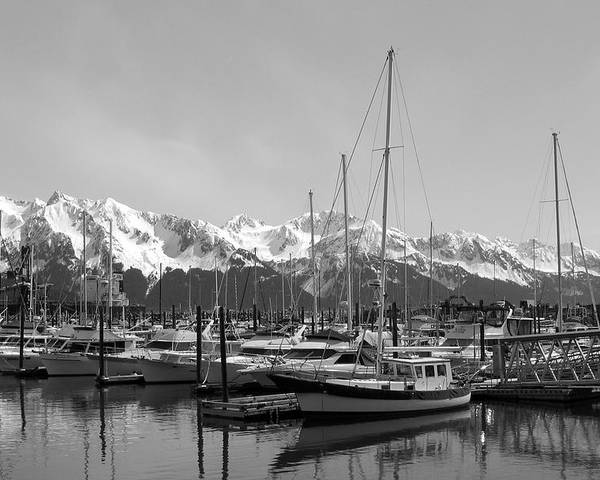 Black And White Poster featuring the photograph Alaskan Harbor by Ty Nichols