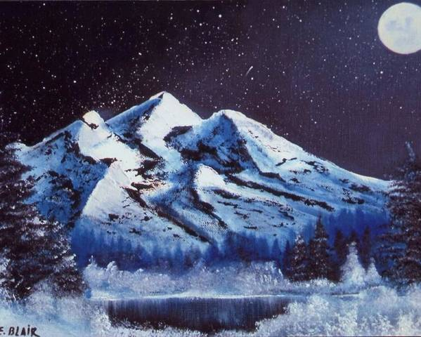 Alaska Night Scenery Snow Winter Mountains Poster featuring the painting Alaskan Night by Eileen Blair