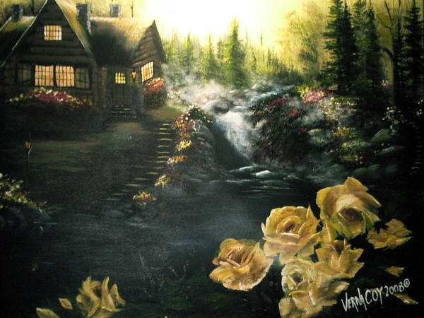 Alaska Alaskan Summer Yellow Roses Cabin Scenery Poster featuring the painting Alaskan Summer Day by Verna Coy