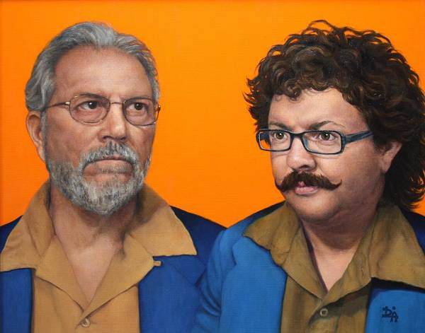 Double Portrait Poster featuring the painting Albert And Adam by Deborah Allison