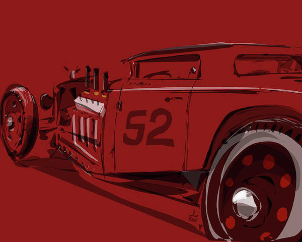 Hot Rod Poster featuring the drawing Alchemy Red by Jeremy Lacy