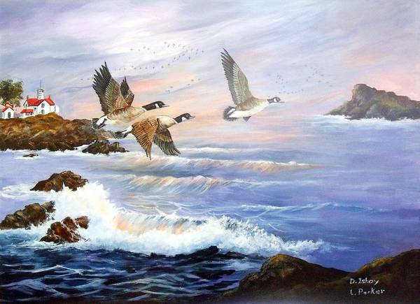 Aleutian Geese /lighthouse Poster featuring the painting Aleutian Geese With Lighthouse by Lynne Parker