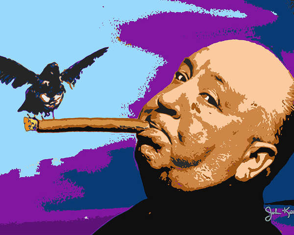 Hitchcock Poster featuring the digital art Alfred Hitchcock by John Keaton