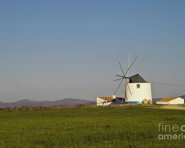 Landscape Poster featuring the photograph Algarve Windmill by Heiko Koehrer-Wagner