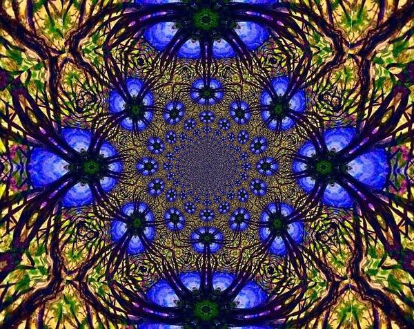 Blue And Yellow Poster featuring the digital art Blue Abstract by Anne Sands