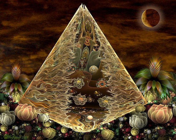 Fractal Poster featuring the digital art Alien Pyramid by Peggi Wolfe