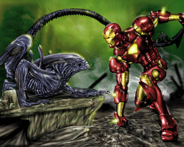 Alien Poster featuring the painting Alien Vs Iron Man by Pete Tapang