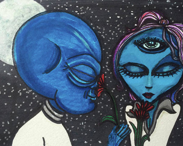 d90e50c79 Love Poster featuring the drawing Aliens Love Flowers by Similar Alien