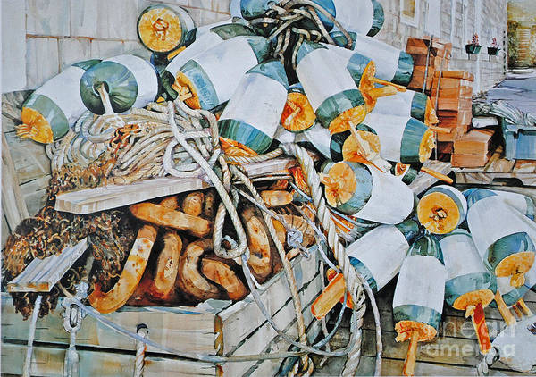 Lobster Buoy's Poster featuring the painting All Buoy'd Up by P Anthony Visco