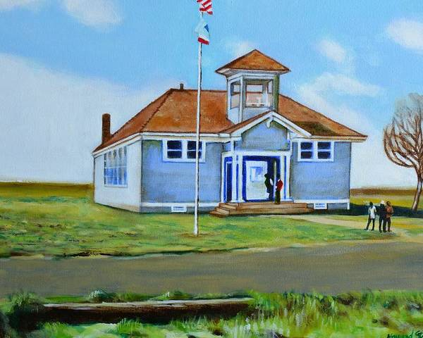 Buildings; School; Landscape; African American Community; Historical State Park; Poster featuring the painting Allensworth School by Howard Stroman