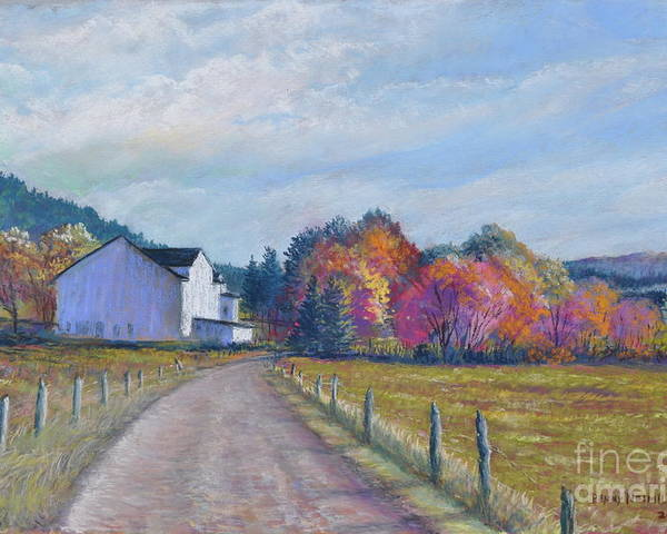 Paintings Of Farms In Fall Poster featuring the painting Almost Home by Penny Neimiller