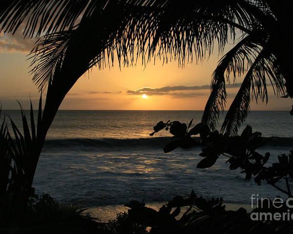 Aloha Poster featuring the photograph Aloha Aina The Beloved Land - Sunset Kamaole Beach Kihei Maui Hawaii by Sharon Mau