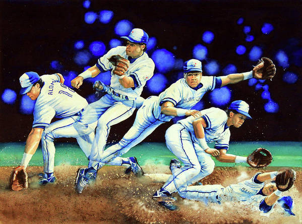 Sports Art Poster featuring the painting Alomar On Second by Hanne Lore Koehler