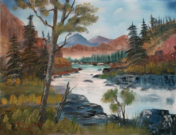 Oil Poster featuring the painting Along Canyon Drive Paradise Montana by Larry Hamilton