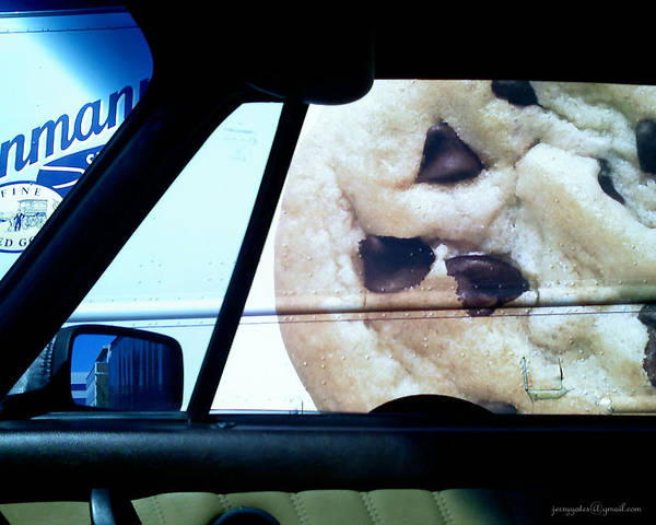 Chocolate Chip Cookie Poster featuring the photograph Along Side The Cookie Truck by Gerard Yates