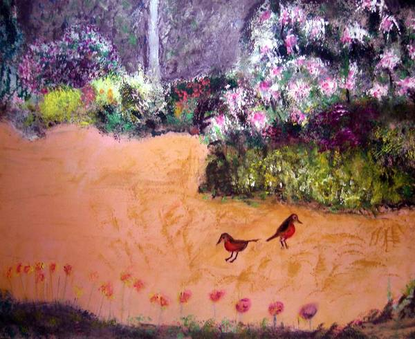 Landscape Poster featuring the painting Along The Garden Path by Michela Akers