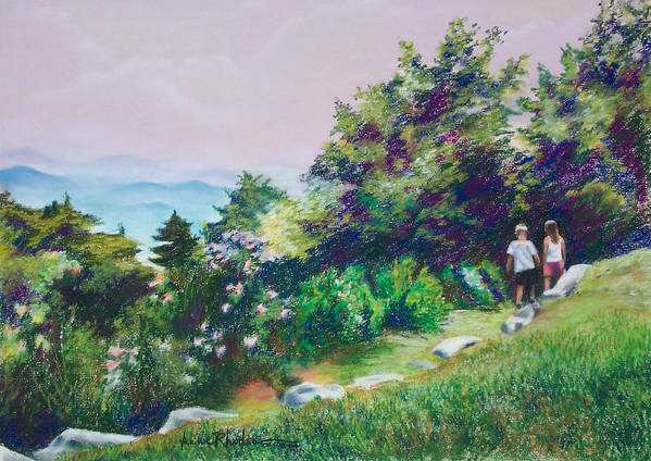 Mountains Poster featuring the painting Along The Mountain Path by Anne Rhodes
