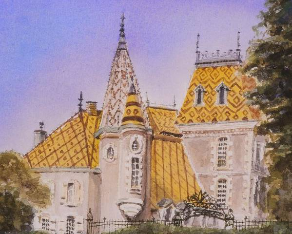 Vineyard Poster featuring the painting Aloxe Corton Chateau Jaune by Mary Ellen Mueller Legault