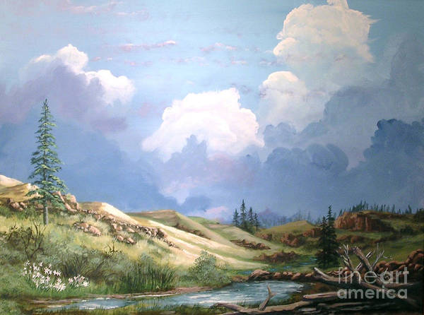 Clouds Poster featuring the painting Alpine Vale by John Wise