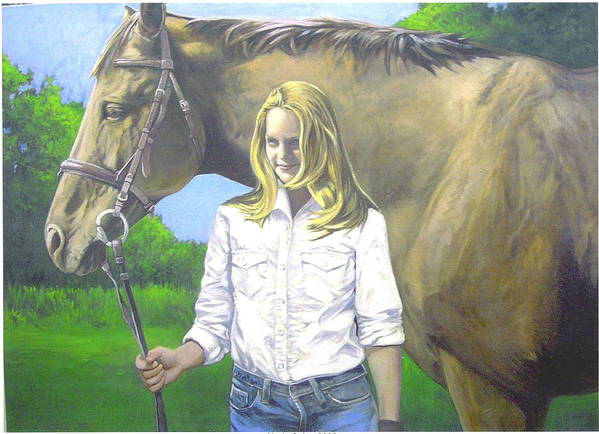 Portrait Poster featuring the painting Alyssa And Joe by Steve Greco