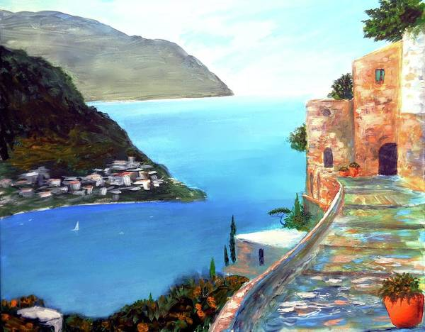 Amalfi Gem Poster featuring the painting Amalfi gem by Larry Cirigliano