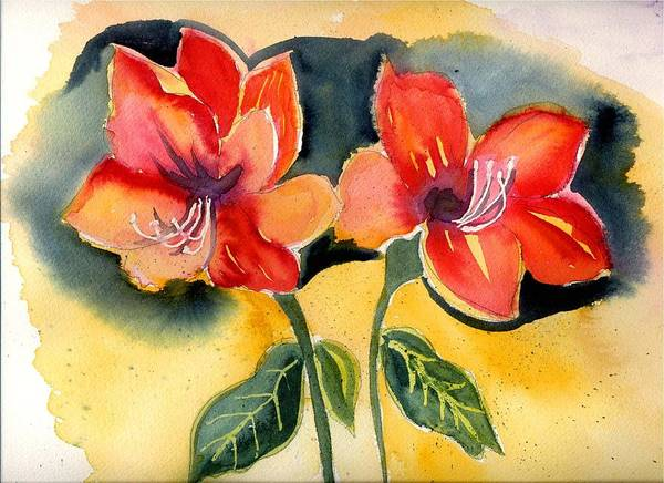 Yellow Orange Red Flowers Floral Amarylis Poster featuring the painting Amarylis by Janet Doggett
