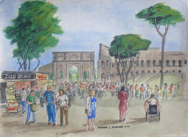 Amber Rome Roman Coliseum People In Line Souvenir Shop Poster featuring the painting Amber At The Roman Coliseum by Frank Hunter