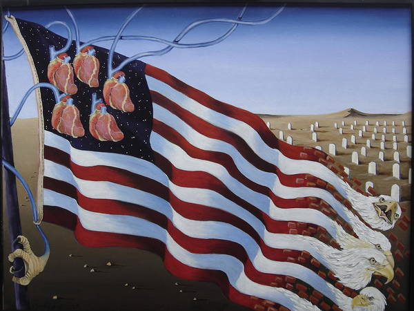 Flag Poster featuring the painting America by Sandra Scheetz-Wise