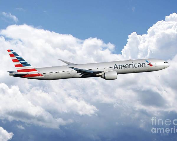 American Airlines Boeing 777 Poster By J Biggadike
