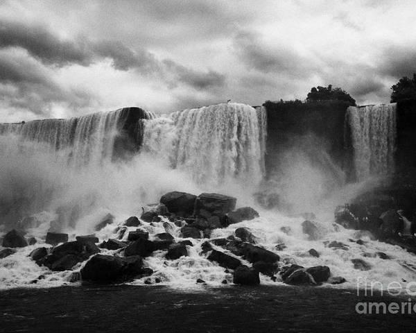 Niagara Falls Poster featuring the photograph American And Bridal Veil Falls With Luna Island And Deposited Talus Niagara Falls New York State Usa by Joe Fox