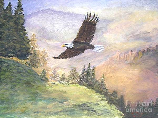 Landscape Painting Poster featuring the painting American Bald Eagle by Nicholas Minniti