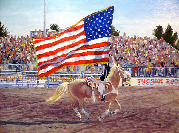 American Flag Southwestern Horse Cowboy Tucson Rodeo Poster featuring the painting American Beauty by John Watt