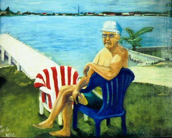 Man Southern Lakescape Poster featuring the painting American Dream by Gloria M Apfel