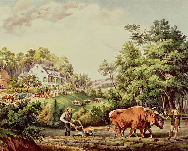 American Poster featuring the painting American Farm Scenes by Currier and Ives